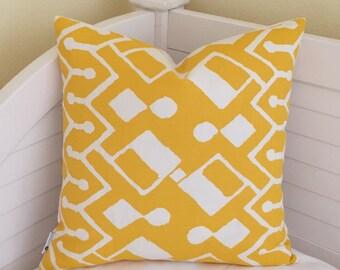 Quadrille China Seas Sahara in Taxi Cab Yellow and White Designer Pillow Cover - Square, Lumbar,  Euro, Body Pillow and Lumbar Sizes