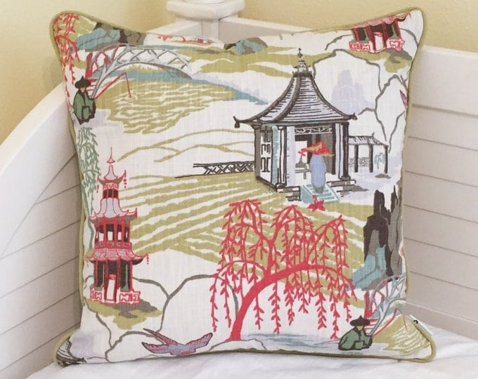 Robert Allen Neo Toile in Coral Designer Pillow Cover with Piping- Other Piping Colors Available