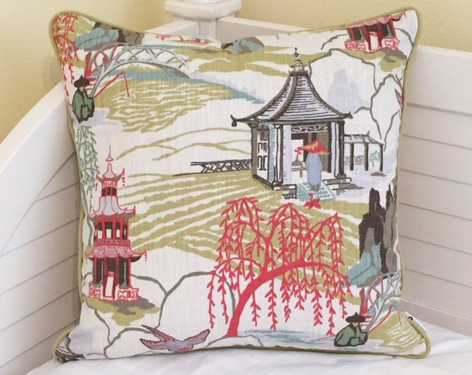Robert Allen Neo Toile in Coral Designer Pillow Covers with Piping- Other Piping Colors Available