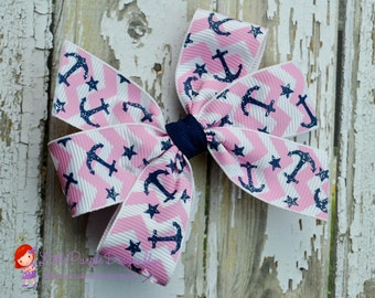 Pink and Navy Nautical Small Basic Pinwheel Bow