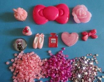 Kawaii decoden phone deco diy charm cabochon pink bow girly kit mini   67---USA seller
