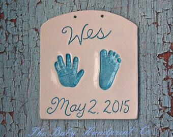 Baby Ceramic Handprint & Footprint Plaque - Kids and Baby Gift - Keepsake Handprint Plaque Gift - New Mom Gift - Baptism Gift - Gift For Mom