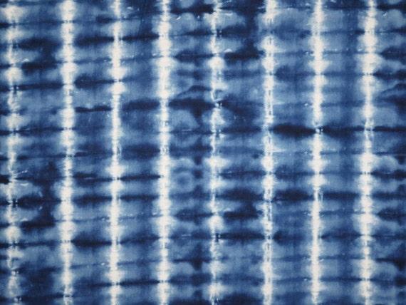 indigo blue and white tie dye stripe print cotton