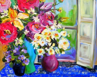 Windowsill Still Life  22 x 28 Original Painting by Elaine Cory