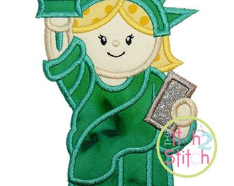 "Lady Liberty Applique, Shown with our "" Hambone"" Font NOT Included,  Sizes 4x4, 5x7, & 6x10 INSTANT DOWNLOAD available"