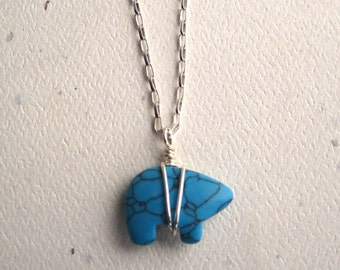Sterling Silver Wrapped Turquoise Bear Necklace