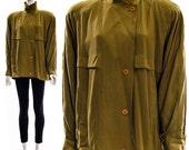 Vtg 80s Silk Chartreuse Avant Garde ASYMMETRIC Minimalist Jacket Yellow Green New Deadstock Medium Large