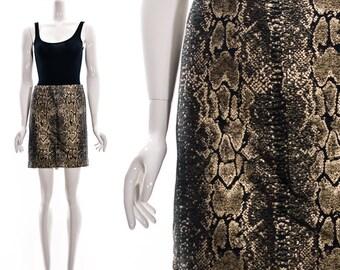 Vintage 90s BROCADE SNAKESKIN Mini Skirt High Waist Shiny Metallic Short Skirt Medium Large