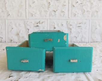 Vintage Wooden Turquoise Drawers