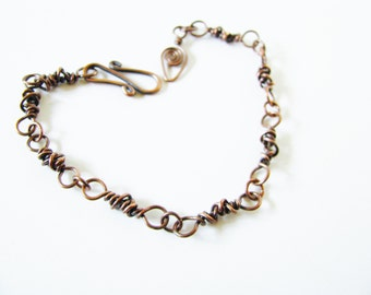 Primitive Copper Wire Wrapped Link Bracelet Bohemian Nature Jewelry