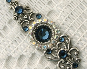 Extra Large Montana Blue Bindi in Oxidized Silver