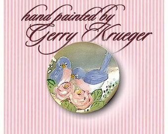 Hand painted button -Bluebird with roses