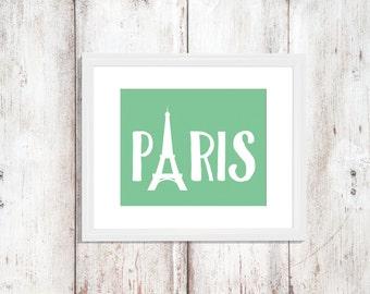 Custom Colors | Paris | France | Europe | Nursery Art | Wall Art | Subway Art | Home Decor | 5x7 | 8x10 | 11x14 | 16x20