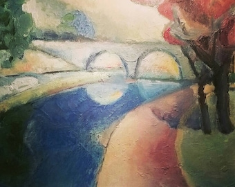 Bridge abstract original oil painting on canvas - 16 X16 inches