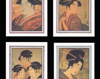 4 Blank Note Cards of Ukiyo-e Bijin gccs003