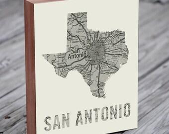 San Antonio Art - San Antonio Texas - San Antonio Map - Wood Block Art Print