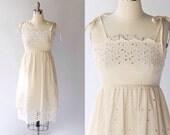 1970s Kay Unger Eyelet Sundress Dress // 70s Vintage Off White Cotton Tierd Skirt Day Dress // XS - Small