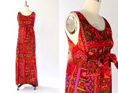 1960s Barcloth Wrap Around Tunic Dress // 60s Vintage Long Retro Print Maxi Dress // S M L