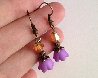 Purple and Orange Flower Antique Brass Earrings