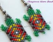 Native American Beaded Earrings - Brick Stitch - Turtles - Grey - Diamond