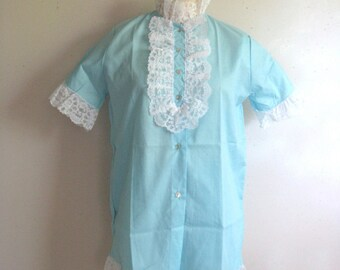 Vintage 1970s 2 pc Pajama Blue White Lace Sleep Wear Night Wear Small