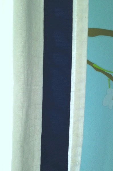 Navy Blue And White Grosgrain Trim Curtain By Chesapeakecottage