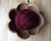 Wool roving supply for needle felting, Garnet Red, 1 ounce, dark red wool for felting, dark red roving, needle felting supply, felting wool