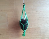 Tiny macrame potted plant ornament, Black with Green string, felted wool cactus ornament, wool succulent, gift for gardener, garden ornament