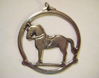 "Vintage Christmas Ornament, Pendant Jewelry Finding, Hobby/Rocking Horse, Signed ""Havstad Tinn"", Made in Norway, 2 1/8"" (app. 5.4cm), 1 pc."
