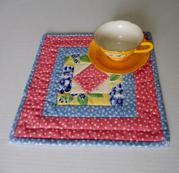 Quilted Mug Rug Coaster Mini Quilt Snack Mat Candle Mat