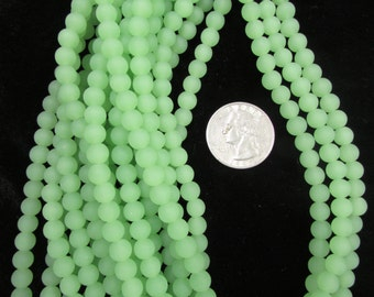 Simulated Sea Glass 8mm Rounds Opaque Mint Green