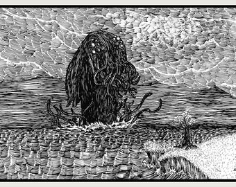 Foreboding Fables - Cthulhu Approaches - Lovecraft and Gorey inspired art by Kris McClanahan