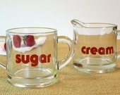 Vintage Glass Typographic Sugar and Cream Set with Red Letters. Coffee Serving Set. Dining Tableware. Kitchen Housewares. Retro Decor.