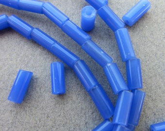 African Blue Glass Tube Beads