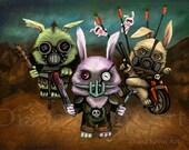 Post Apocalyptic Bunnies  Road Warrior Art Print - Mad Max -Furry Road