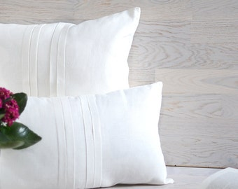 Linen Pillow Case White Cover Eco Friendly Cushion Linen Decorative Case With Folds White Linen Pillow Throw