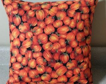 1 thanksgiving pumpkin Halloween pillow cover sham 16x16 orange black fall harvest 16 x 16