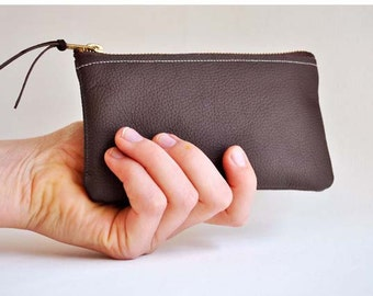 Small Leather Clutch Bag, Leather Coin Pouch Purse