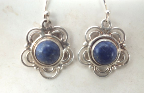 Lapis Lazuli  and Sterling Silver Flower Earrings