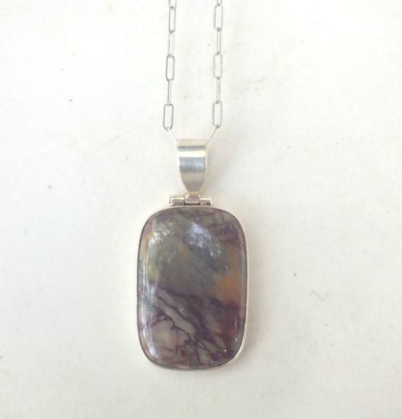 Cherry Creek Jasper and Sterling Silver Pendant Necklace