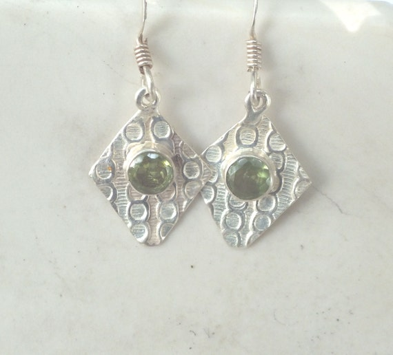 Peridot and Sterling Silver Patterned Drop Earrings
