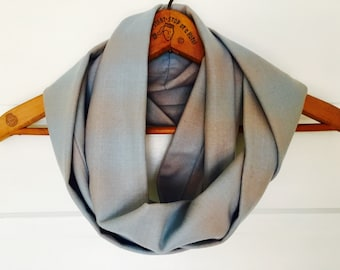Infinity Circle Scarf in Recycled American Wool, Blue Ombre Plaid