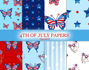 4th of July digital paper Independence day digital paper Patriotic digital paper red blue white stars stripes Printable Scrapbook paper