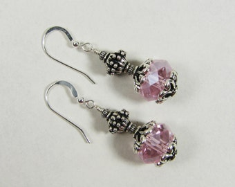 Faceted Light Pink Crystal Rondelles with Silver Bali Beads - Dangle Earrings