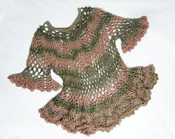 Crocheted Over Dress, Olive Green, Salmon Pink, Soft Ribbon Yarn, Handmade, Pineapple Motif, Original Design, Ruffles, Any Size, Elegant