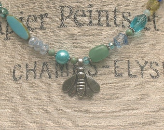 One of a Kind Bee Jewelry Silver Green Blue Turquoise Bee Necklace Unique Boho Asymmetrical Necklace Colorful Spring Summer Jewelry