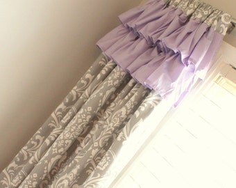 Gray Damask with accent lavender ruffle top drapery panels