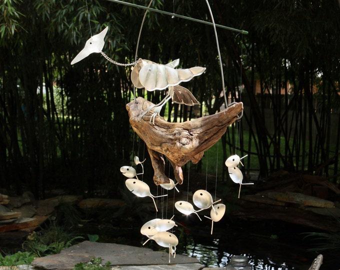 Kinetic Bird Sculpture, Mesmerizing Motion, Brilliant Bobbing Head Bird Mobile, Silverware Flatware Wind Chime,