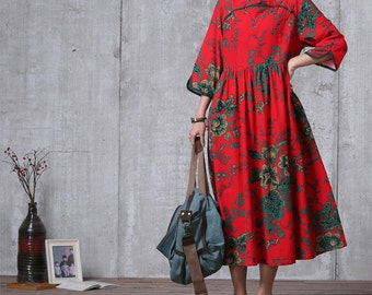 Casual Loose Fitting  Cotton Dress-  Red - Women Maxi dress