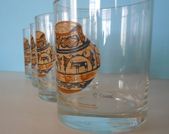 """Set of Four Couroc 4"""" Tall Glasses with Zuni Indian Pottery Motif"""